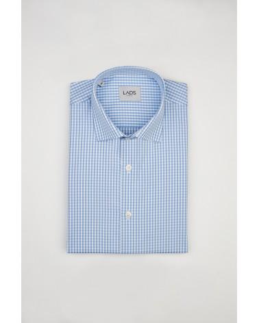 chemise homme de luxe haut de gamme : chemise homme carreaux bleu clair