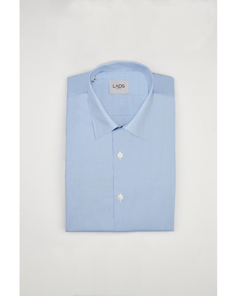 chemise homme de luxe haut de gamme : Chemise à petit carreaux bleu clair