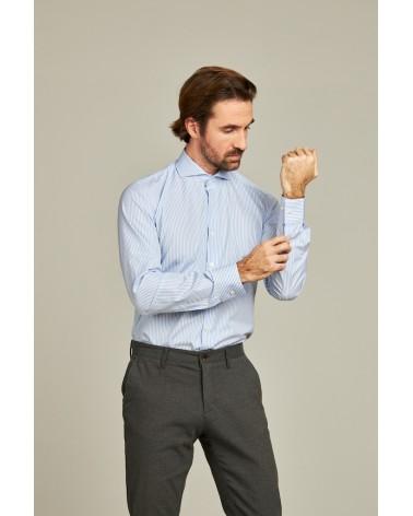 chemise homme de luxe haut de gamme : Chemise homme à rayure bleu